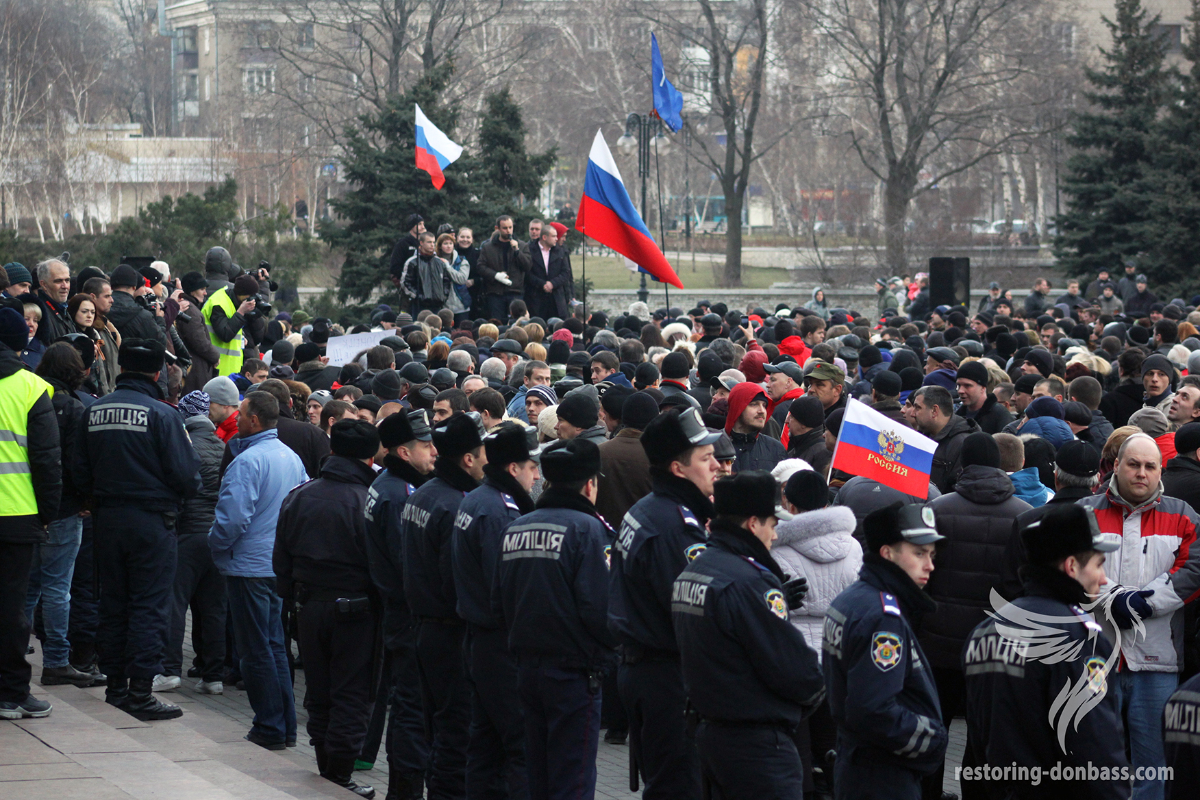 Speech by Paul Gubarev in front of Donetsk Regional State Administration, March 5, 2014