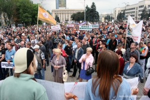 Anti-war miners rally in Donetsk, June 18, 2014