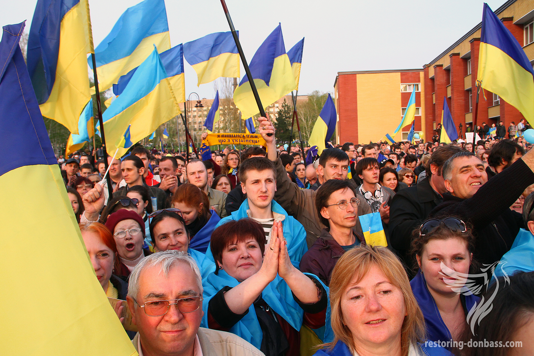 """Rally """"with a prayer for Ukraine"""" in Donetsk, April 17, 2014"""