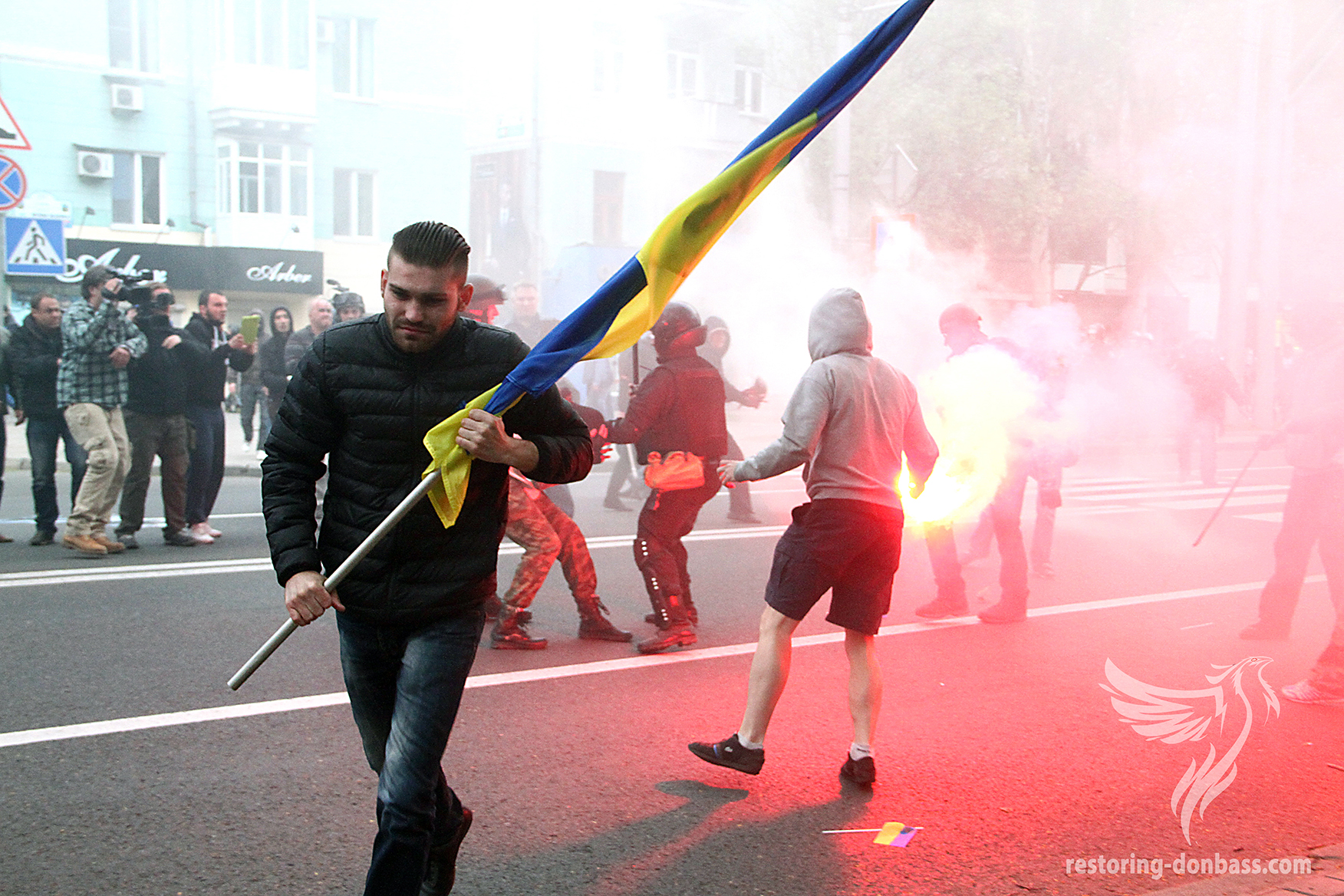 Clashes at a rally for unity, April 28, 2014