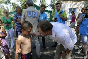 The first humanitarian aid of the United Nations was supplied to Donetsk, Yalta settlement, August 2, 2014