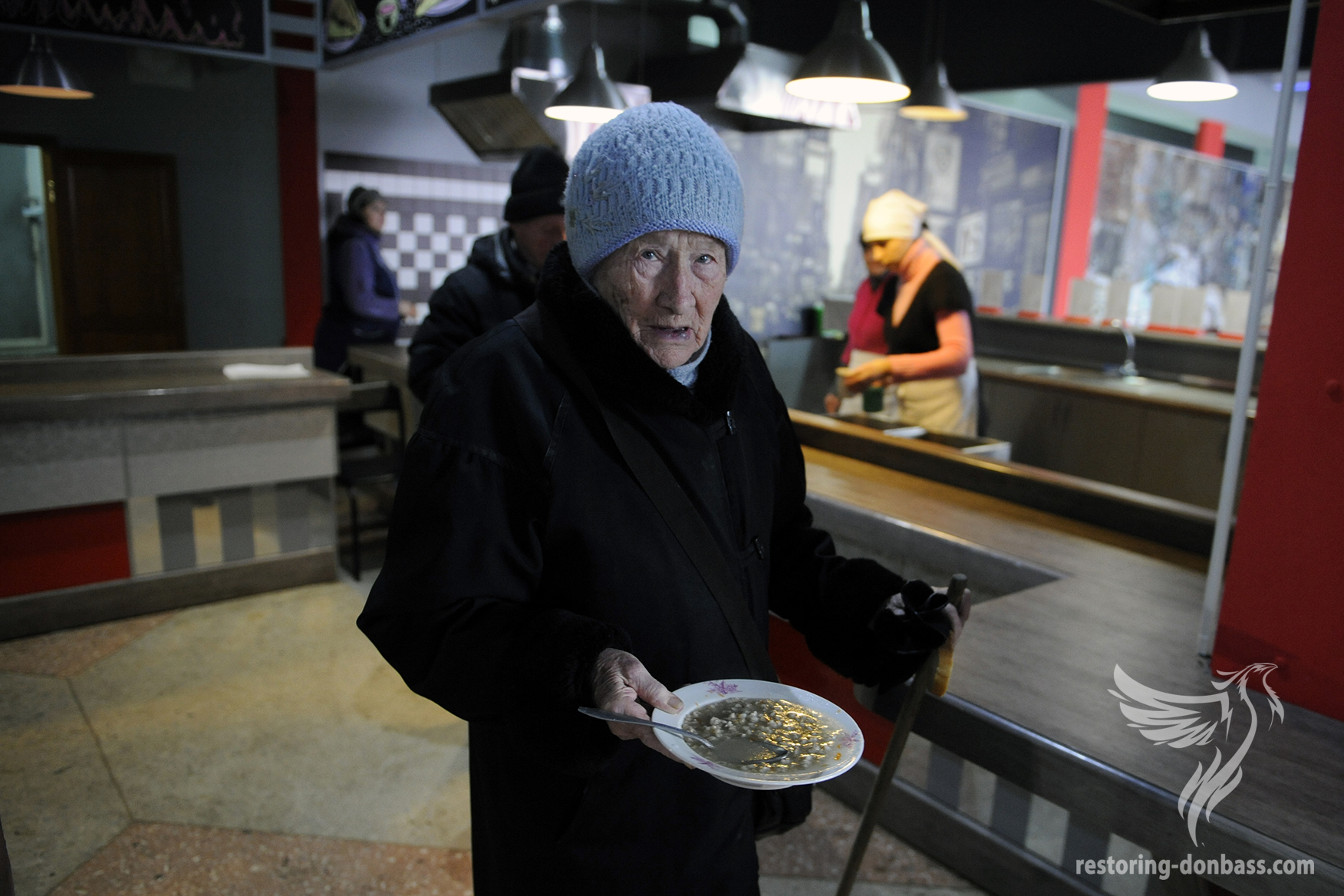 Elderly Donetsk resident in social dining, February 8, 2015