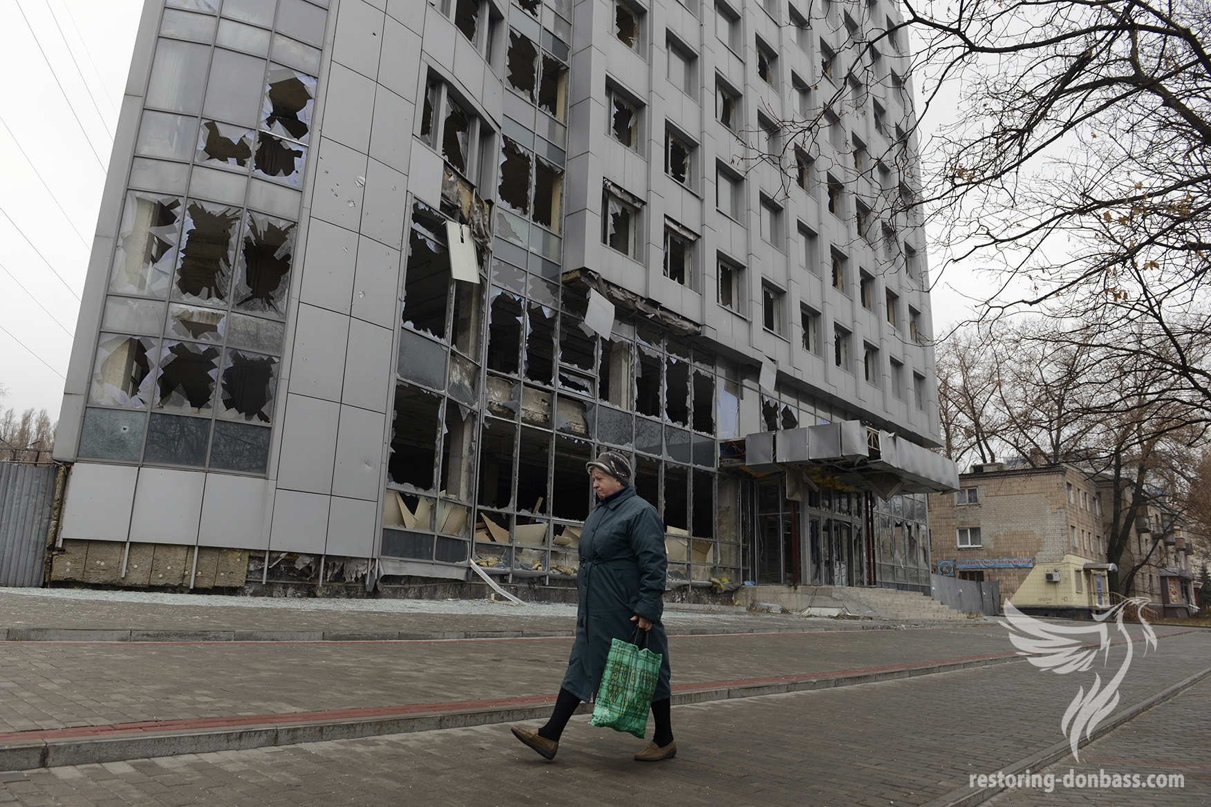 Building in Kievskiy district, which was damaged by shelling, November 13, 2014