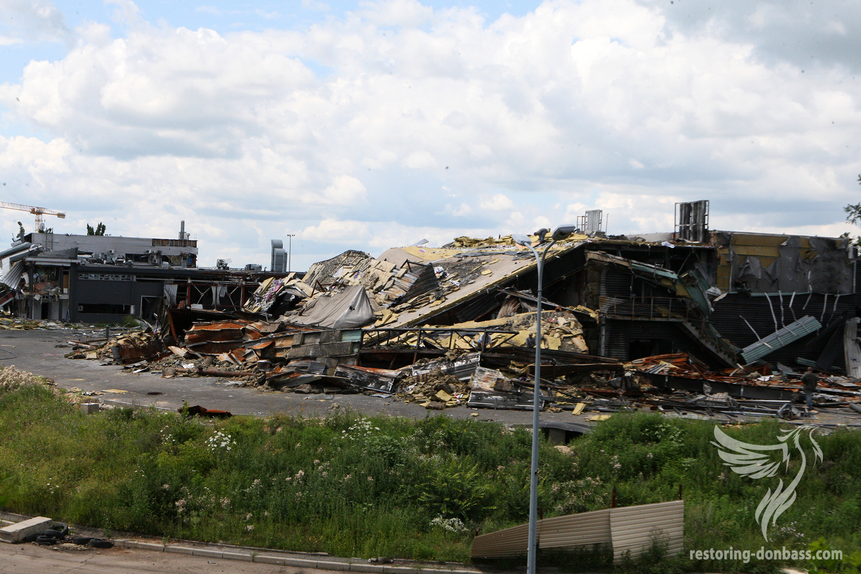 Destroyed car showroom in area of the Donetsk airport