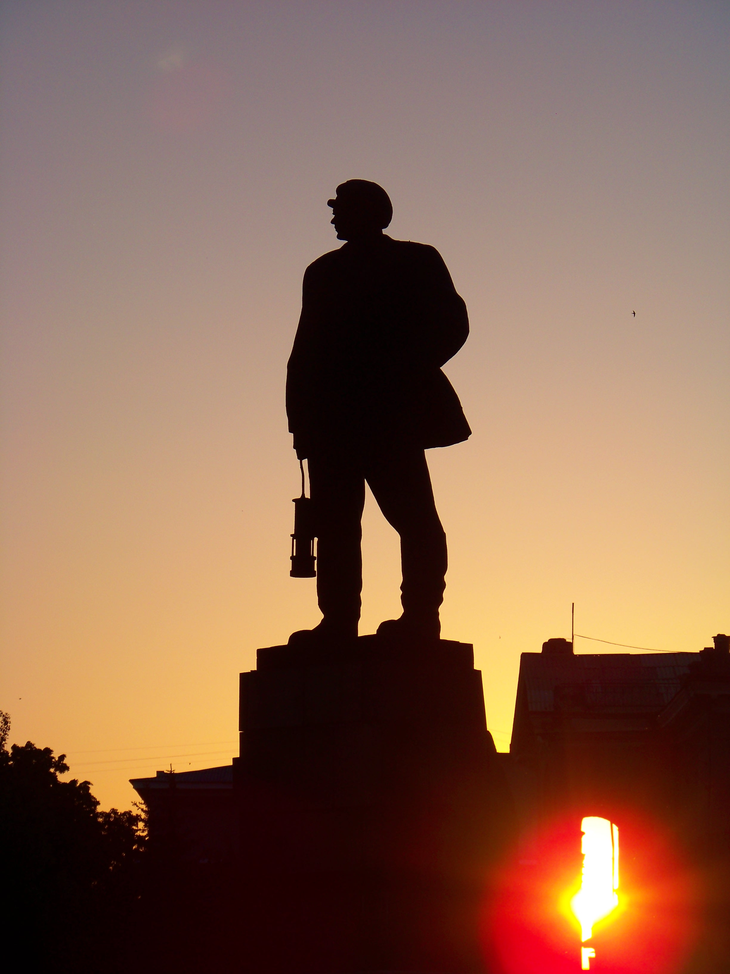 At sunset, monument for Nikita Izotov. Nadezhda Alistratova