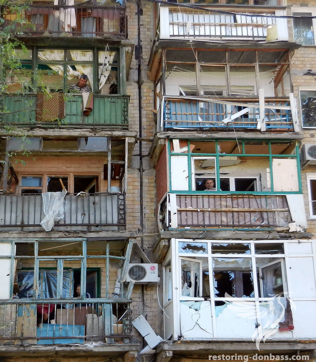 Houses on the Central city district of Gorlovka after shelling, on August 25, 2015