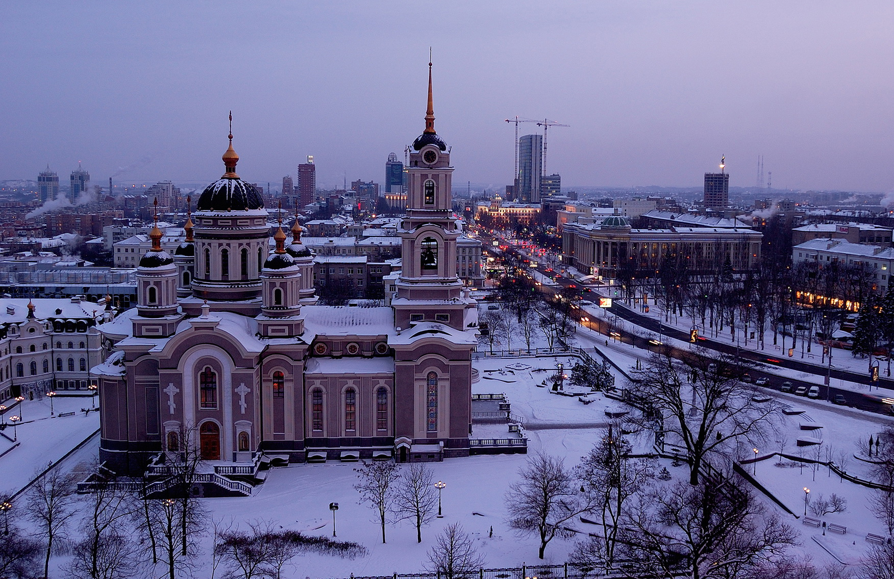 Over Donetsk –  winter came to the city. Hudoyarov Sergey