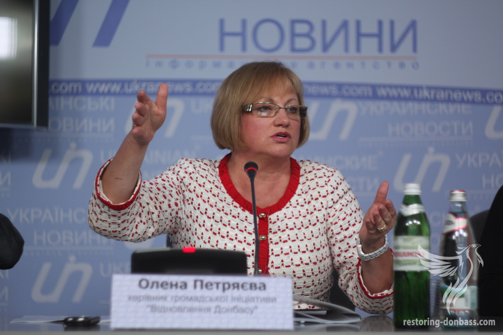 The head of the initiative Elena Petryayeva is answering on journalists' questions