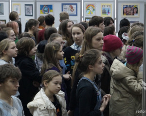 Exposition of children's drawings in the building of art school
