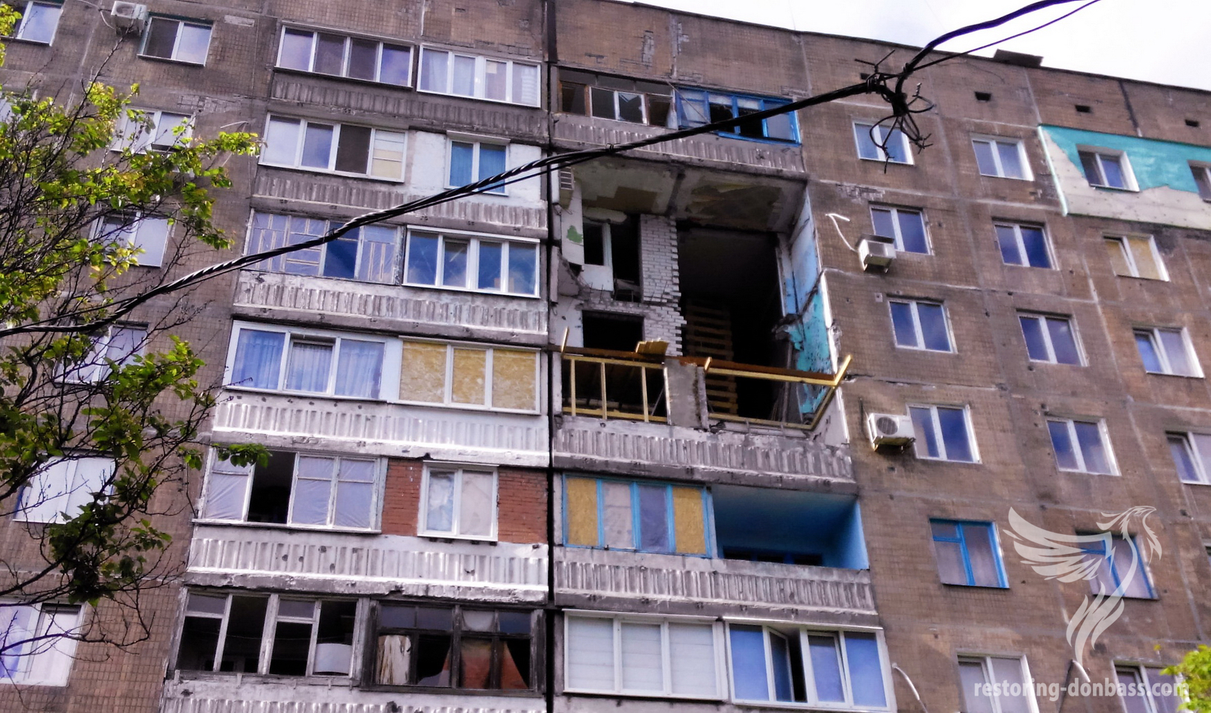 Destructions in the Petrovsky district, city of Donetsk