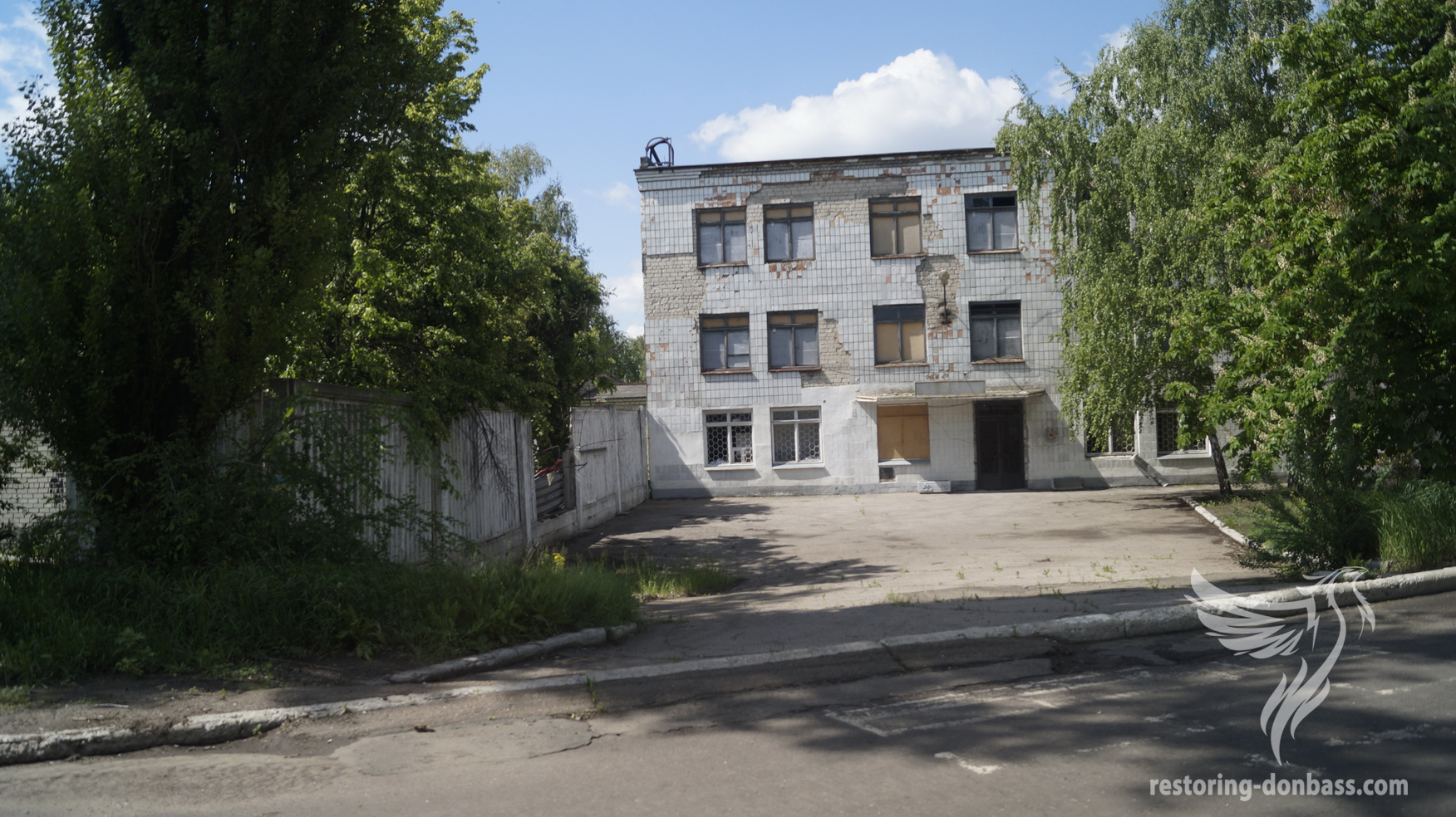 Marinka, Donetsk region. May, 2016. Destroyed building