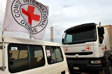 Thirteen trucks with humanitarian aid from the Red Cross